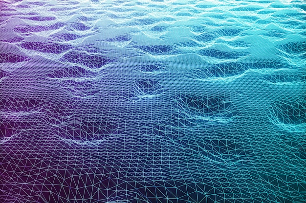 Fundo da paisagem da ilustração 3d. grade de paisagem do ciberespaço. tecnologia 3d. abstrata azul paisagem em fundo preto com raios de luz.