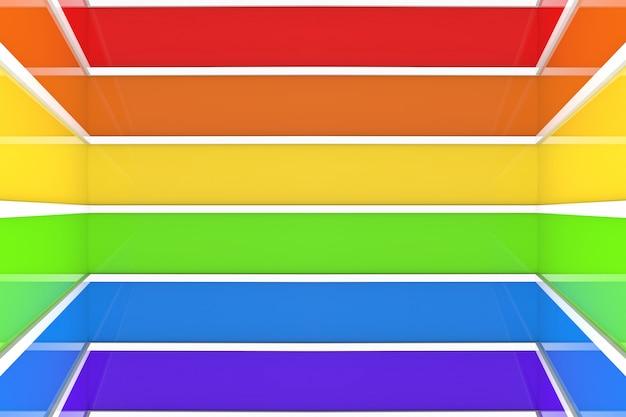 Fundo da parede da sala do coner do teste padrão de barra da cor do arco-íris de lgbt.