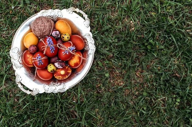 Fundo da páscoa, galinha multi-colorida e ovos de codorna no fundo natural brilhante da grama.