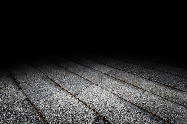 Fundo da perspectiva da textura do assoalho de telha de telhado para a exposição ou a montagem do produto