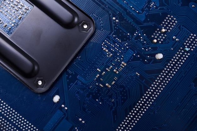Fundo da placa-mãe do computador e componentes eletrônicos