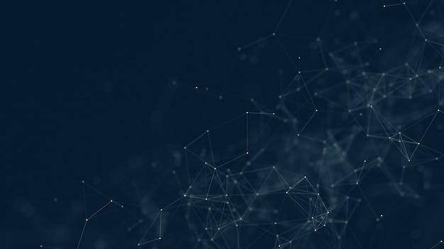 Fundo da rede da tecnologia com linhas e pontos moventes.