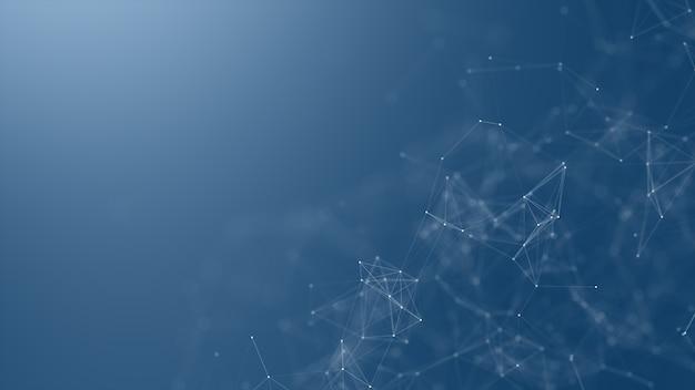 Fundo da rede de digitas, de comunicação e de tecnologia com linhas moventes e pontos.