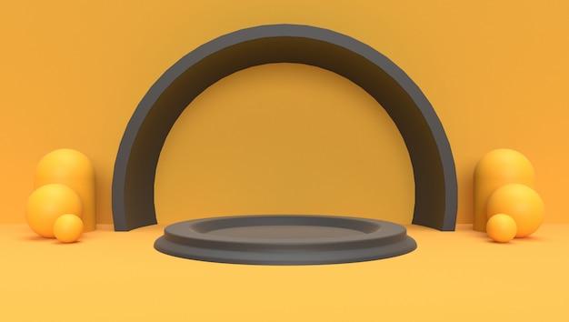 Fundo da rendição 3d de geométrico abstrato, cena, pódio, estágio e exposição. tema amarelo e preto.