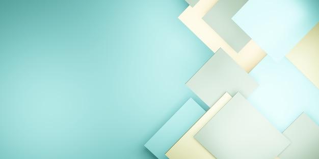 Fundo da telha hierarquia geométrica verde pastel ilustração 3d quadrada abstrata