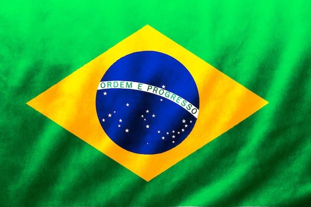 Fundo da textura da onda de seda da tela da bandeira do brasil, ilustração 3d.