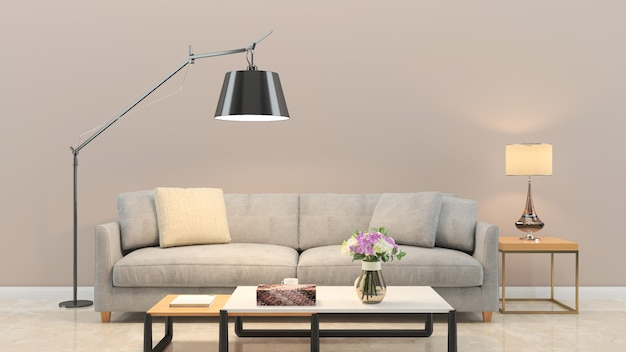 Fundo da textura da parede de madeira piso de mármore sofá cadeira lâmpada