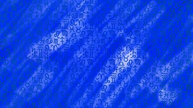 Fundo da textura do padrão do horóscopo do zodíaco da astrologia azul, design gráfico