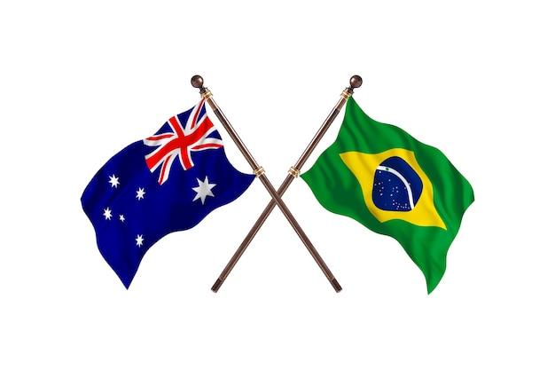 Fundo das bandeiras da austrália versus brasil