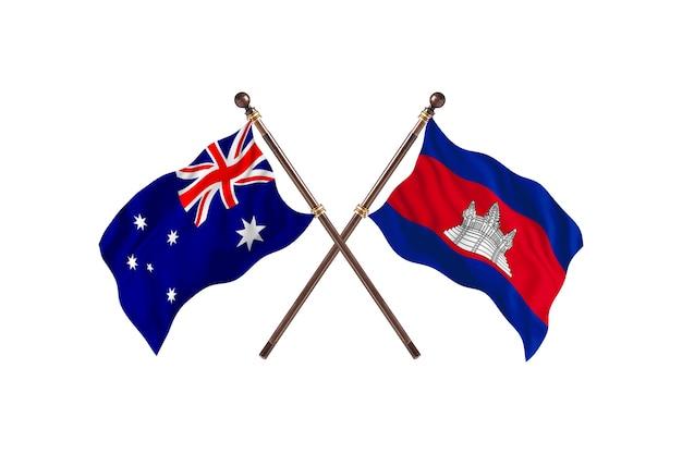 Fundo das bandeiras da austrália versus camboja