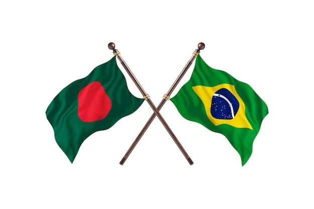 Fundo das bandeiras de bangladesh versus brasil