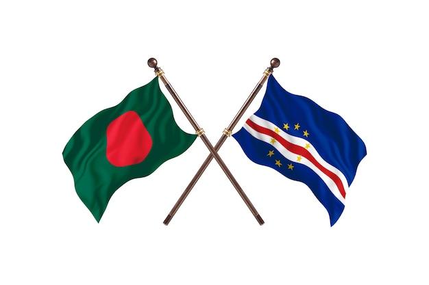Fundo das bandeiras de bangladesh versus camboja