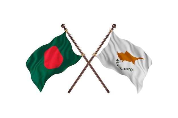Fundo das bandeiras de bangladesh versus chipre