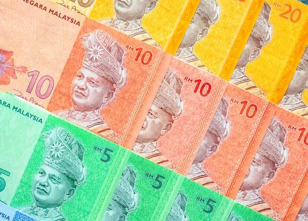 Fundo das cédulas do ringgit malaio. conceito financeiro.