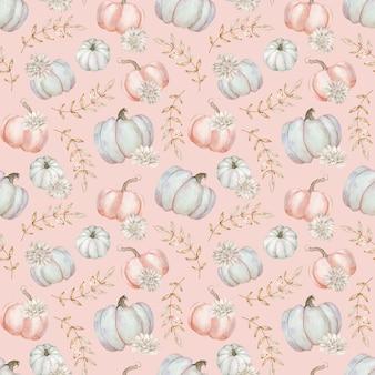 Fundo de abóboras lindas em aquarela. padrão sem emenda de abóboras rosa e cinza. fundo de outono. ilustração do dia de ação de thaks. flores e folhas de outono.