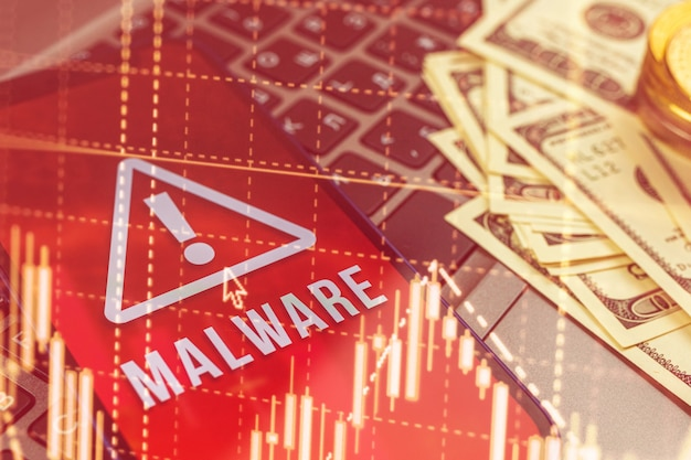 Fundo de alerta de vírus e malware, crime cibernético com telefone celular, invasão de dados pessoais, contas bancárias, senha, etc.