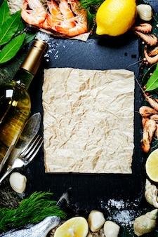 Fundo de alimentos com frutos do mar e vinho