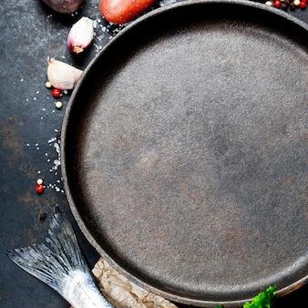 Fundo de alimentos com peixe e legumes Foto Premium