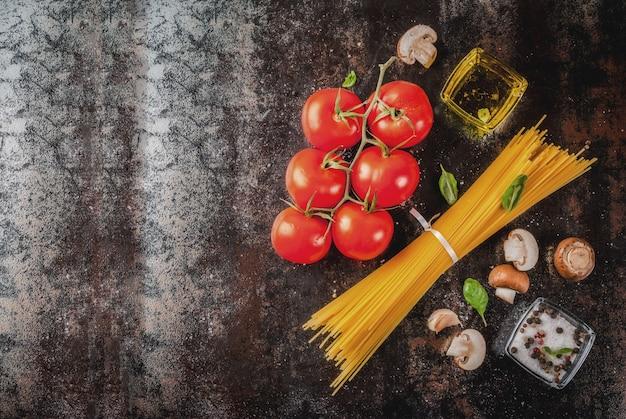 Fundo de alimentos, ingredientes para o jantar.