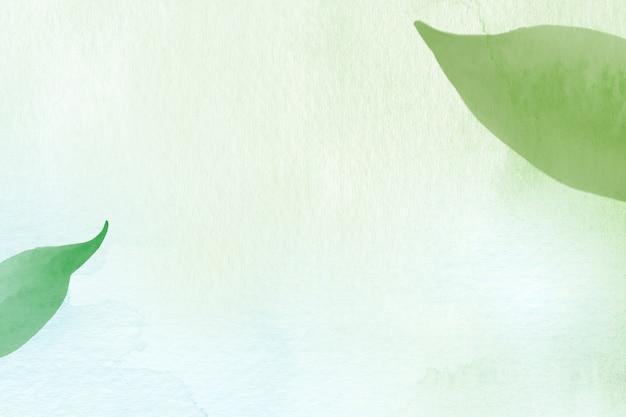 Fundo de ambiente de borda de folha em ilustração de aquarela