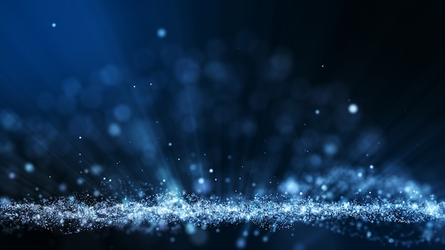 Fundo de animação abstrata azul escuro com forma de partículas em movimento e flicker. pano de fundo do efeito do raio de luz bokeh.