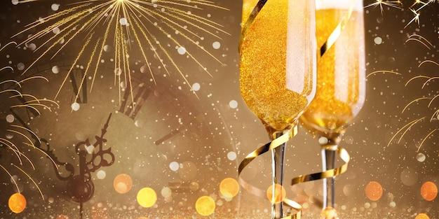 Fundo de ano novo com duas taças de champanhe