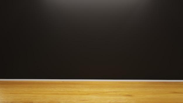Fundo de arquitetura com parede preta e piso de madeira realista minimalista detalhado