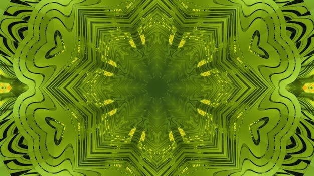 Fundo de arte abstrata de ilustração 3d com efeito de ilusão de ótica de túnel colorido verde sem fim com ornamento caleidoscópico e reflexos