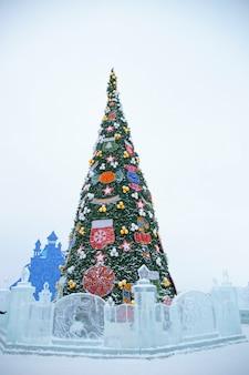 Fundo de árvore de natal de ano novo