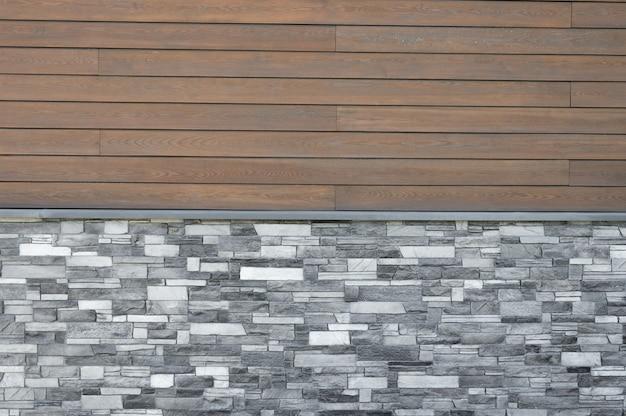 Fundo de azulejos de madeira. fachada em casa