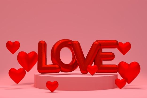 Fundo de balão de coração abstrato mínimo pódio para o amor