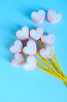 Fundo de balão de marshmallow de coração, fundo bonito marshmallow