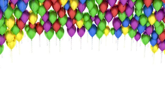 Fundo de balões coloridos isolado no branco