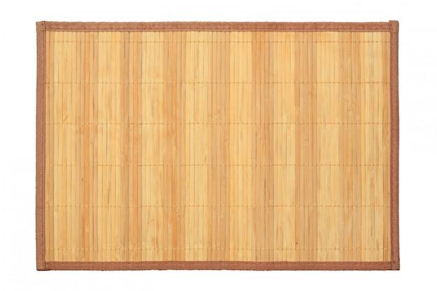 Fundo de bambu da textura da esteira no fundo branco.