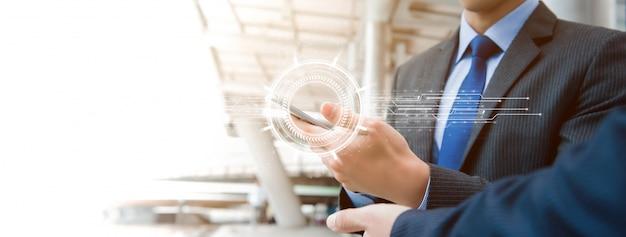 Fundo de bandeira de tecnologia digital móvel