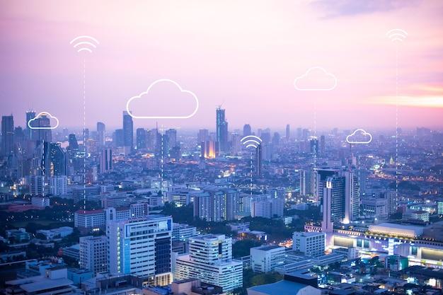 Fundo de banner de computação em nuvem para cidade inteligente