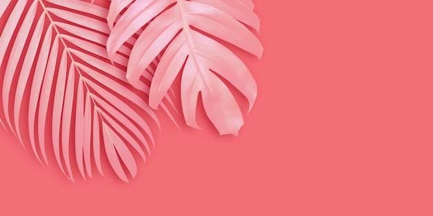 Fundo de banner de folhas tropicais com espaço de cópia