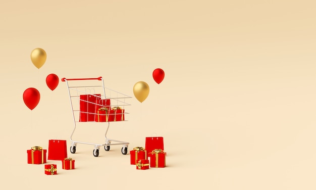 Fundo de banner de propaganda para web design, sacola de compras e presente com carrinho de compras, renderização em 3d