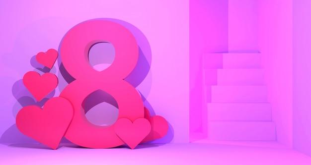 Fundo de banner do dia da mulher. renderização em 3d.