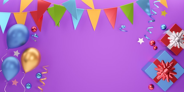 Fundo de banner do elemento de festa. estrela da caixa de presente do balão 3d e bandeira pendurada no fundo roxo. renderização de ilustração 3d