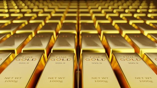 Fundo de barras de ouro em armazenamento de ouro e conceitos financeiros e econômicos.