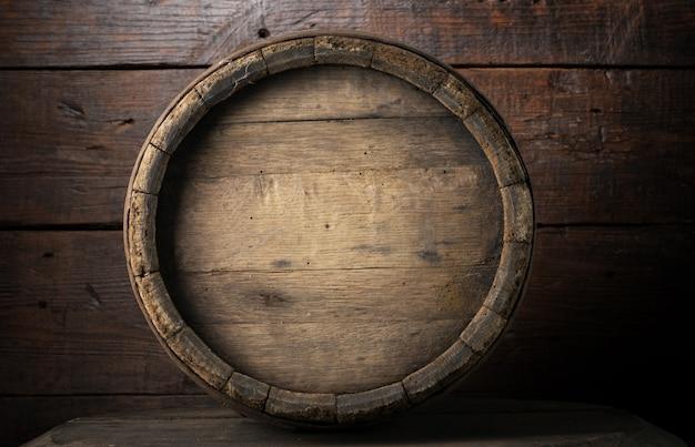 Fundo, de, barril, e, gasto, antigas, tabela madeira