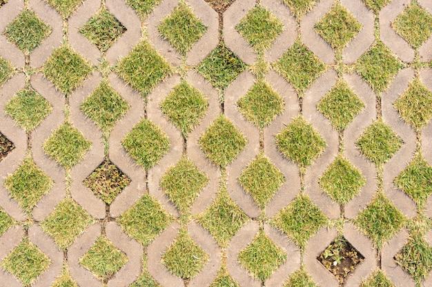 Fundo, de, bloco concreto, passagem, com, grama verde