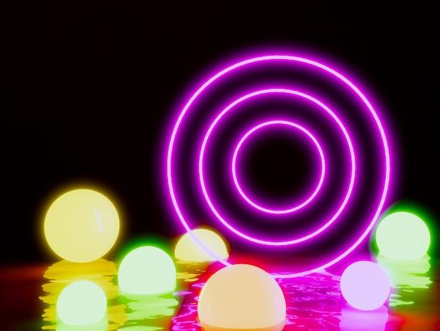 Fundo de bola de iluminação de néon de círculo