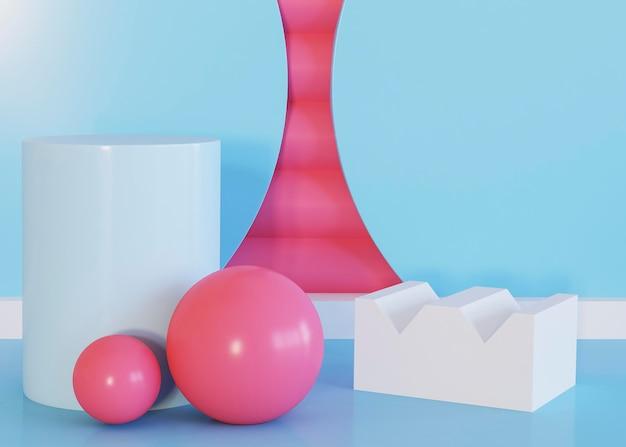 Fundo de bolas e formas geométricas abstratas
