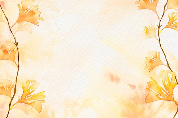 Fundo de borda de folha de gingko em aquarela laranja temporada de outono