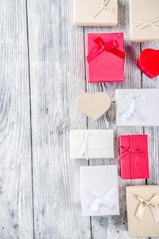 Fundo de caixas de presente de dia dos namorados