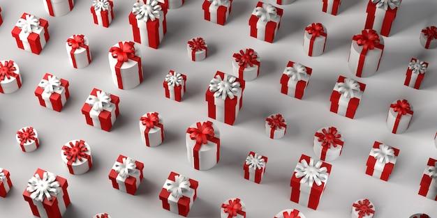 Fundo de caixas de presente de natal. copie o espaço. ilustração 3d.