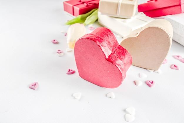 Fundo de caixas de presente de presentes de dia dos namorados