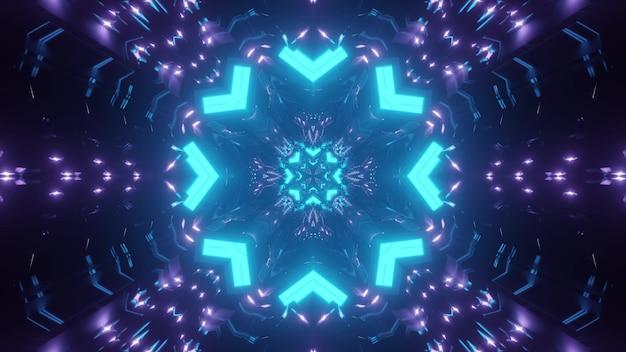 Fundo de caleidoscópio abstrato com ornamento geométrico de néon azul e roxo formando um túnel de formato redondo